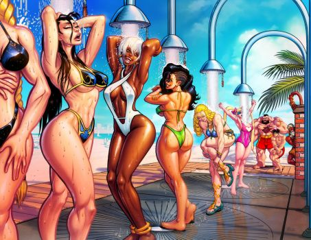 Street fighter summer beach shower by danimation2001