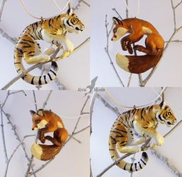 Tiger and fox necklace by AlviaAlcedo