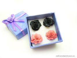Rose Earrings [Commission] by SmallCreationsByMel