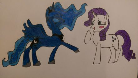 Princess Luna and Rarity (Finalized Sketch) by MrCTeddy