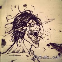 Eren Jaeger Titan Form INK by studioodin