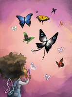 The girl who created butterflies by Vannelee