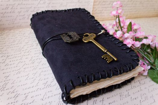 Black Suede Blank Book - Handmade by GoldCoinComics