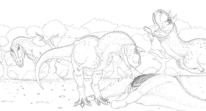 Carnotaurus and Giganotosaurus by Aesirr