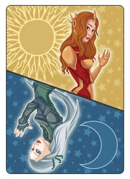Diana and Leona - Playing Card by Val-eithel