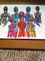 Sentai Knight Rangers Group With Darkness Tige by buddyfrank