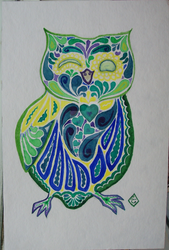 Sugarskull-ish owl in blue by Tindome-Art
