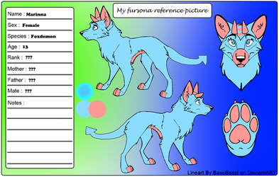My fursona ref pic. ( !OLD VERSION OF DESIGN! ) by MaraAnimations