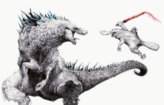 Nuclear Lizard vs Giant Platypus with light saber by Zombiraptor