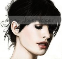 Anne Hathaway Colored 2 by JunebugHardee