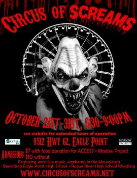 CIRCUS OF SCREAMS flyer by KidThink