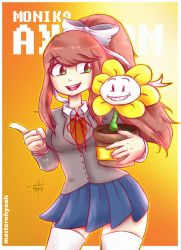 Monica and Flowey by MasterOhYeah