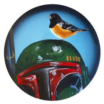 Boba Fett with Rufus Sided Towhee by TrampLamps