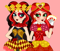 Libby Hearts and Lizzie Hearts with face paint on by JanelleMeap