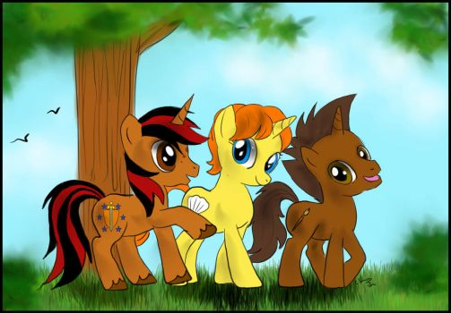 Commission - Hanging out siblings ponies by FuriarossaAndMimma