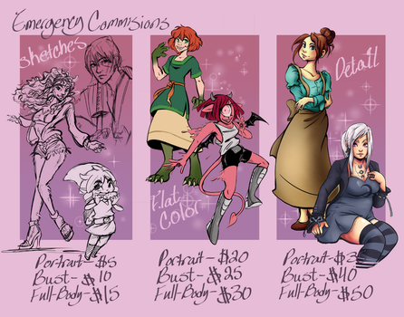 Emergency Commissions by Neriah