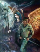 Karou and Akiva by heyquitpeeking