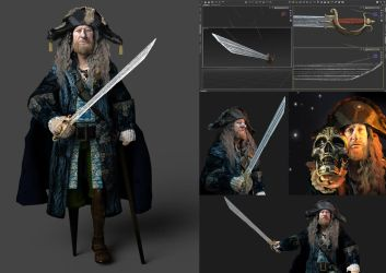 Hector Barbossa  wit Sword of Triton by KomyFly