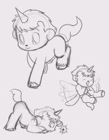 Unico Sketch Dump by Whimsy-Floof