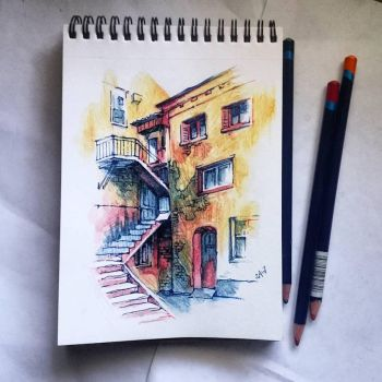 Instaart - Building with stairs by Candra