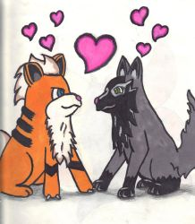 Growlithe and Poochyena by Rift-Mark