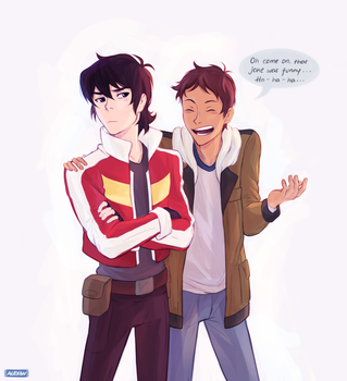 Lance just wants to see Keith laugh :) by Alexgv-art