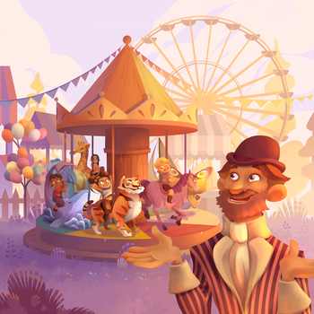 Commission 'Monsieur Carrousel' : boardgame cover by ApollinArt