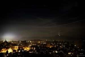 Contrails in Night Sky by LeWelsch