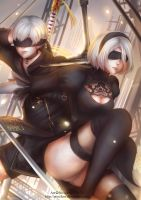 2B and 9S by Novclow