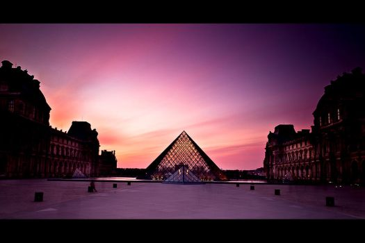 sunset on the louvre by LeMex