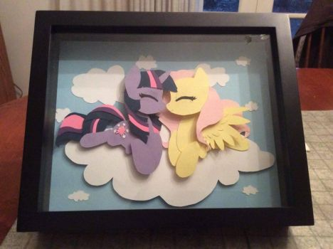 Twilight Sparkle and Fluttershy Shadowbox by wayne90