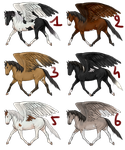 Winged horse adoptables || 6/6 available by Koekeldoedeltje