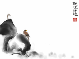 Two bird and one rock by 5h3ll3x