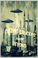 Cosmic Saucers Black and White by nealienman