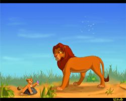 Simba and little Kopa by kotenokgaff