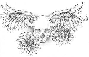 Winged Skull Tattoo Design by jinx2304