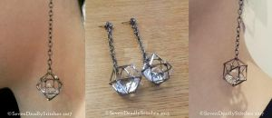 Geometric Caged Diamond Earrings