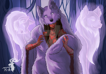 The Lady with Wolves by Hurlespoir-Amelie