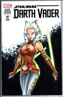 SKETCH COVER AHSOKA TANO Darth Vader Star Wars by HM1art