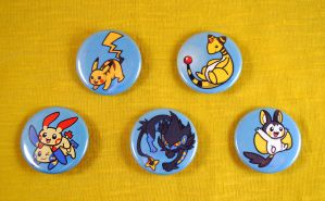 Pokemon Favorite Type Buttons - Electric Type Set
