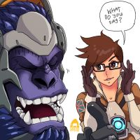 Overwatch Winston and Tracer by sharknob