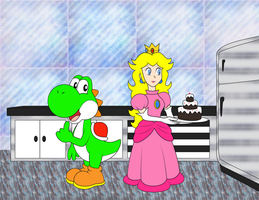 Baking Peach and hungry Yoshi by ZeFrenchM