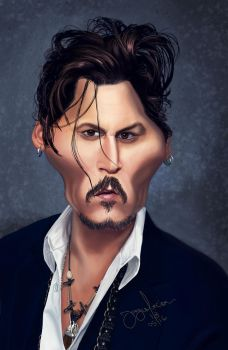 Johnny Depp caricature by r3cycled