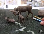WIP Whitetail Doe and Fawns miniature sculpture by Pajutee