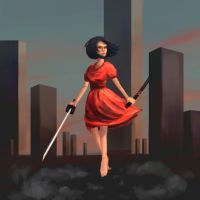 Girl with a Katana by OneSpeechless