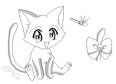 Kitten Lineart 1 by PeachyBases