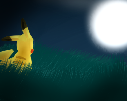 Pkachu And The Moon by TakeoTheSavage