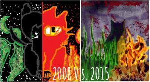 Hollyleaf Redraw    2008 Vs 2015 by SnowWhisker4