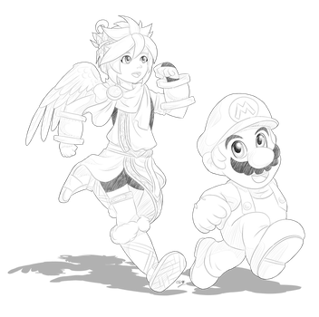 Day13: Pit and Mario by Lady-of-Link
