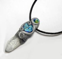 RAW CRYSTAL Moon Goddess Polymer Clay Pendant by Create-A-Pendant